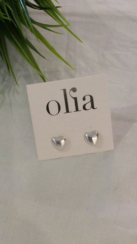 Olia Pamela Heart Stud Earrings - Silver
