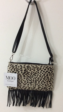 Moo Boutique Tassle Leopard Print Bag
