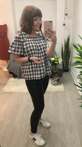 Great Plains Gingham Off The Shoulder Top