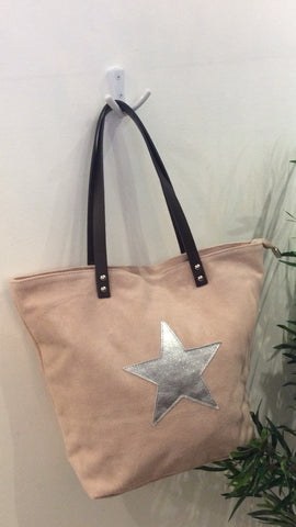 Moo Boutique Suede Star Tote Bag
