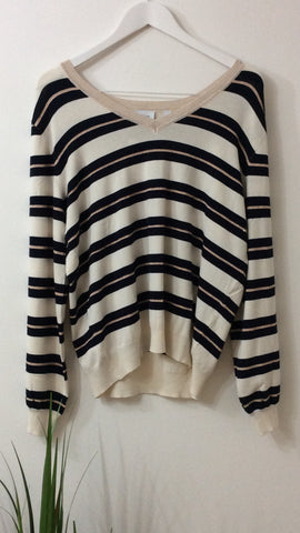 Saint Tropez V Neck Striped Knit