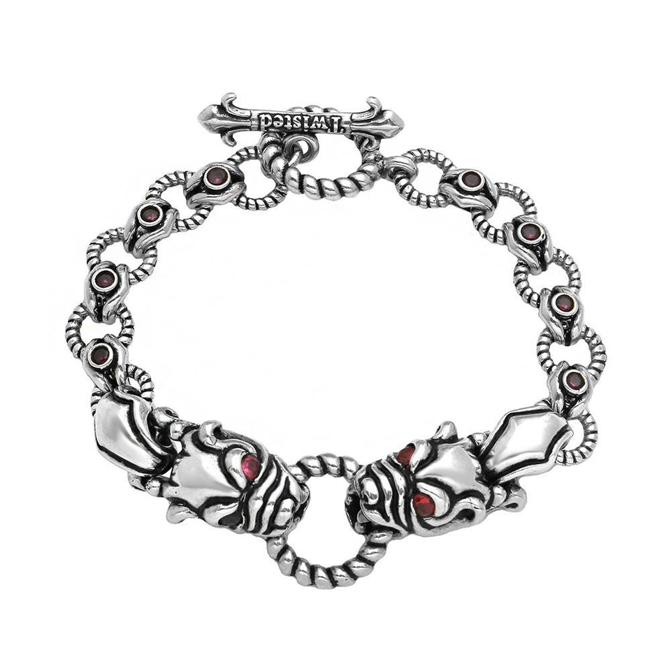 TWISTED BLADE SILVER BULLDOG AND RED CZ BRACELET