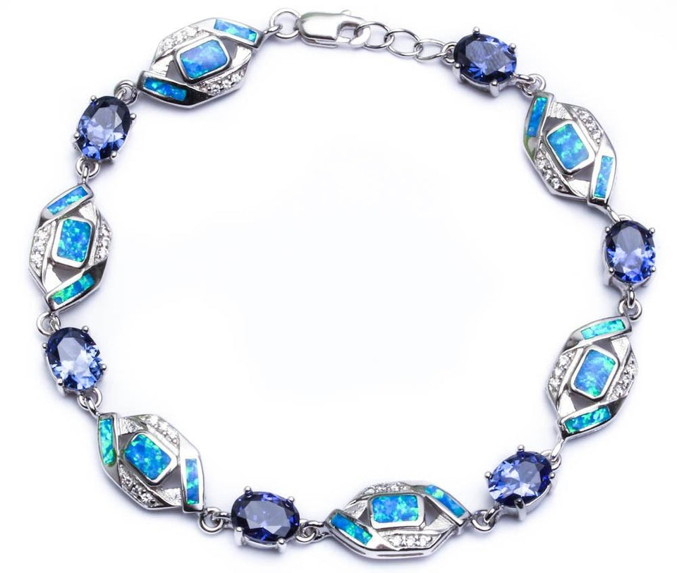 "8.5"" Sterling Silver Bracelet with Tanzanite, Cz, & Blue Opal"