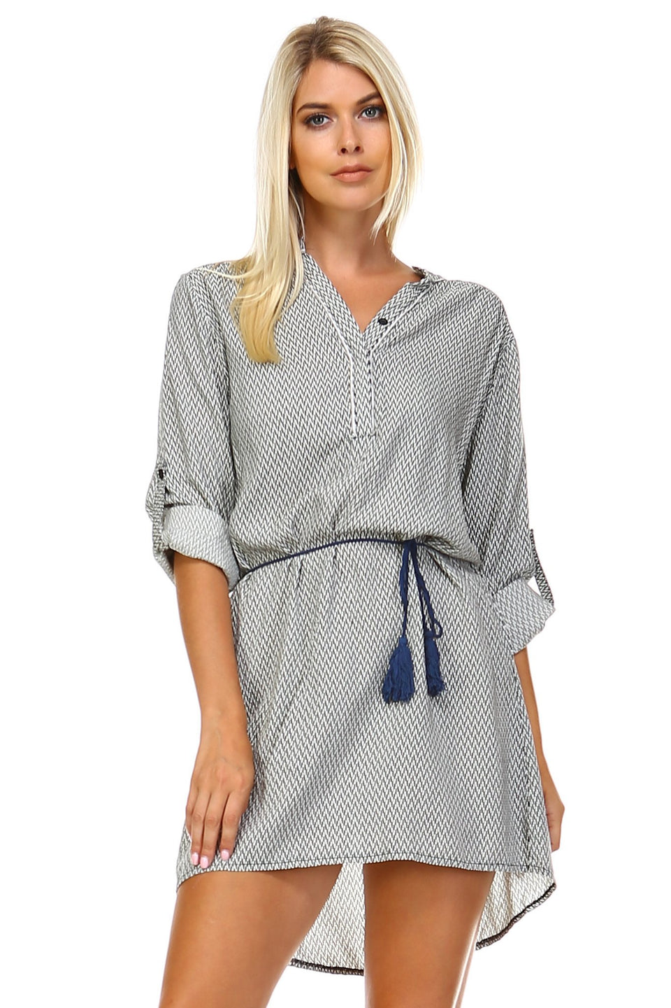 Women's Front Tassel Tie Button Up Dress