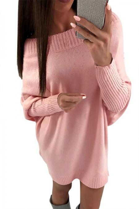 Pink Long Sleeve Baggy Sweater Dress