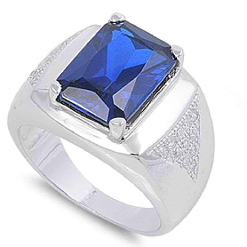 Men's Sapphire & Cubic Zirconia Heavy 16x12 .925 Sterling Silver Ring Sizes 8-18