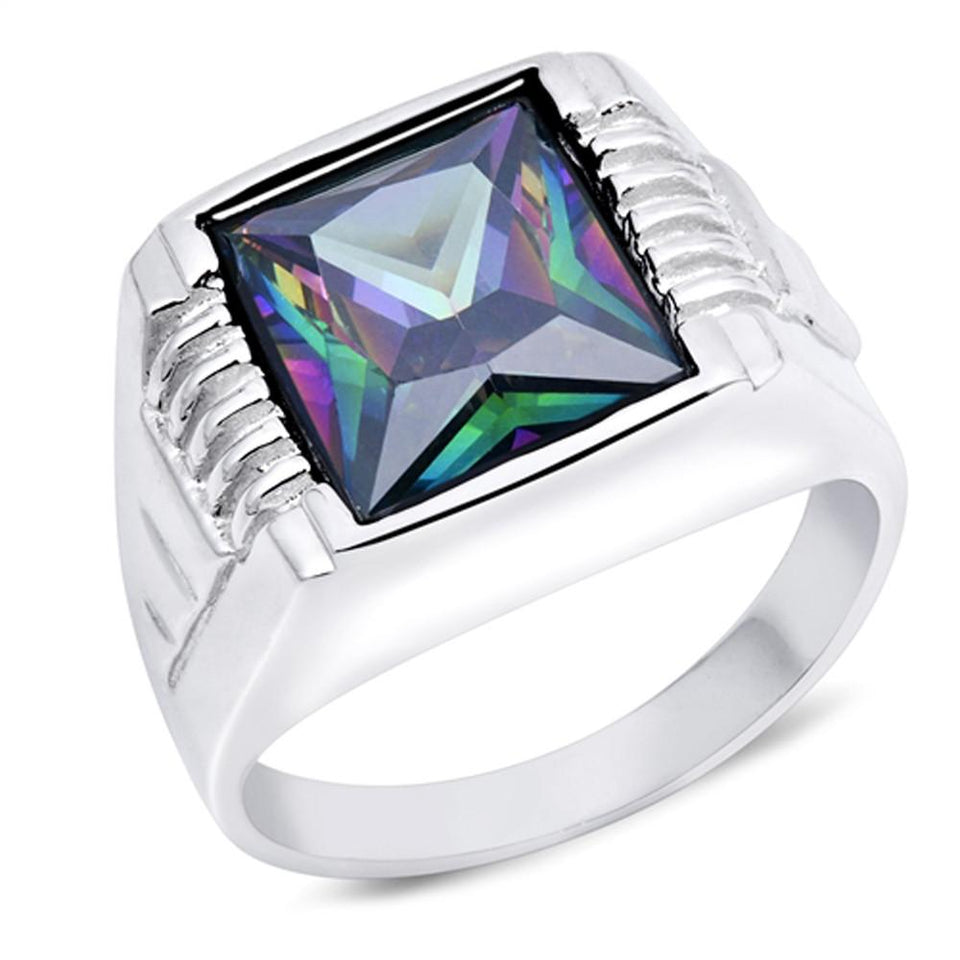 Men's Rainbow Topaz .925 Sterling Silver Ring Sizes 9-14