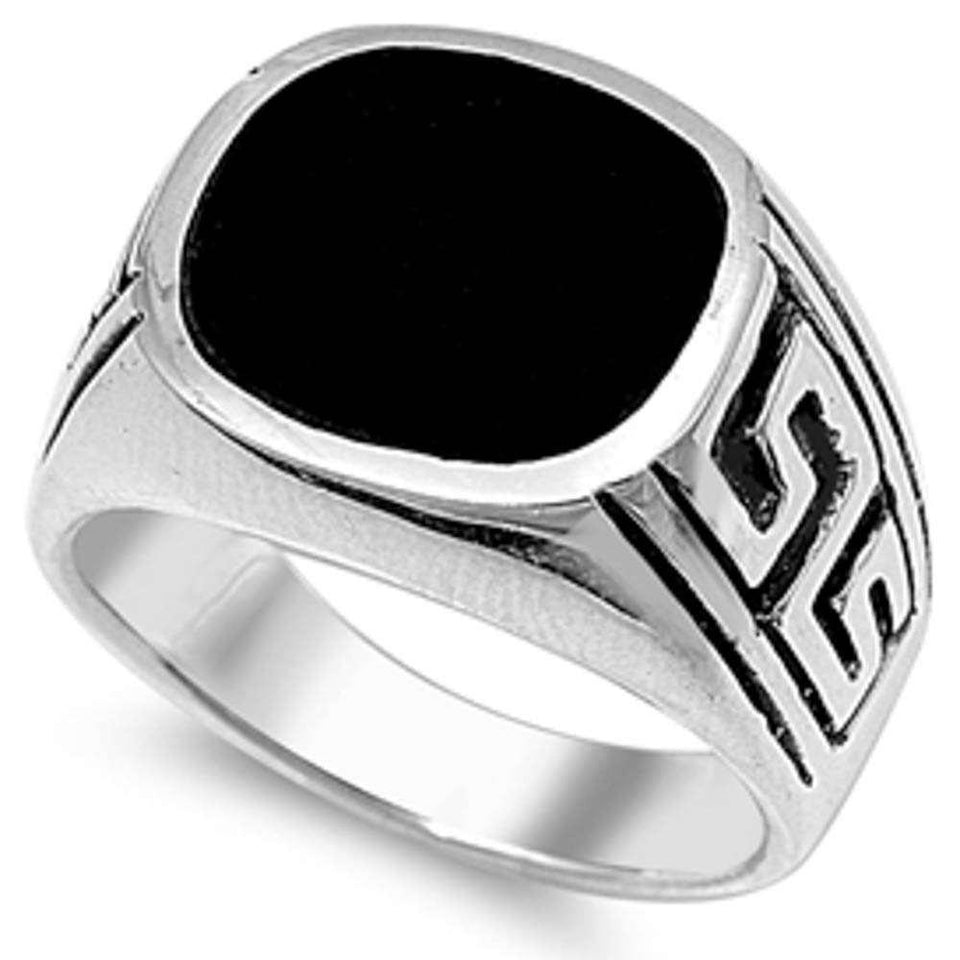 Black Onyx Mens Signet .925 Sterling Silver Ring Sizes 9-13
