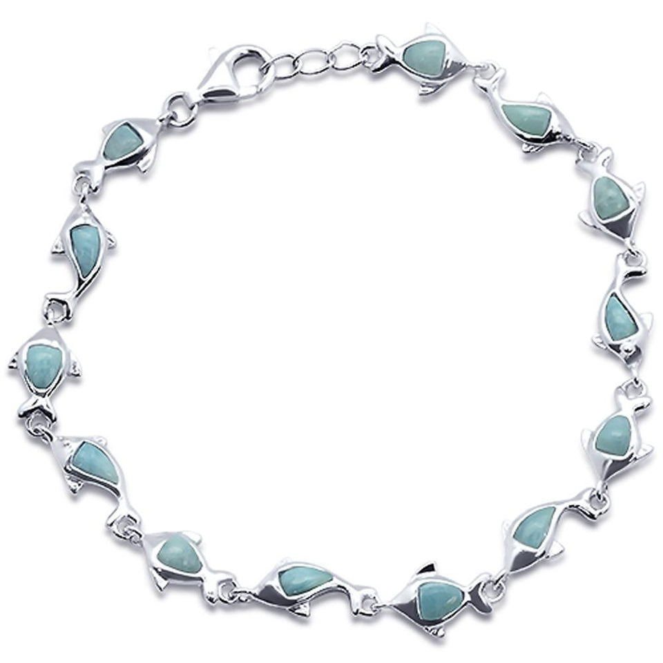 "Natural Larimar Dolphin Charm  .925 Sterling Silver Bracelet 7.5"" to 8"" Long"