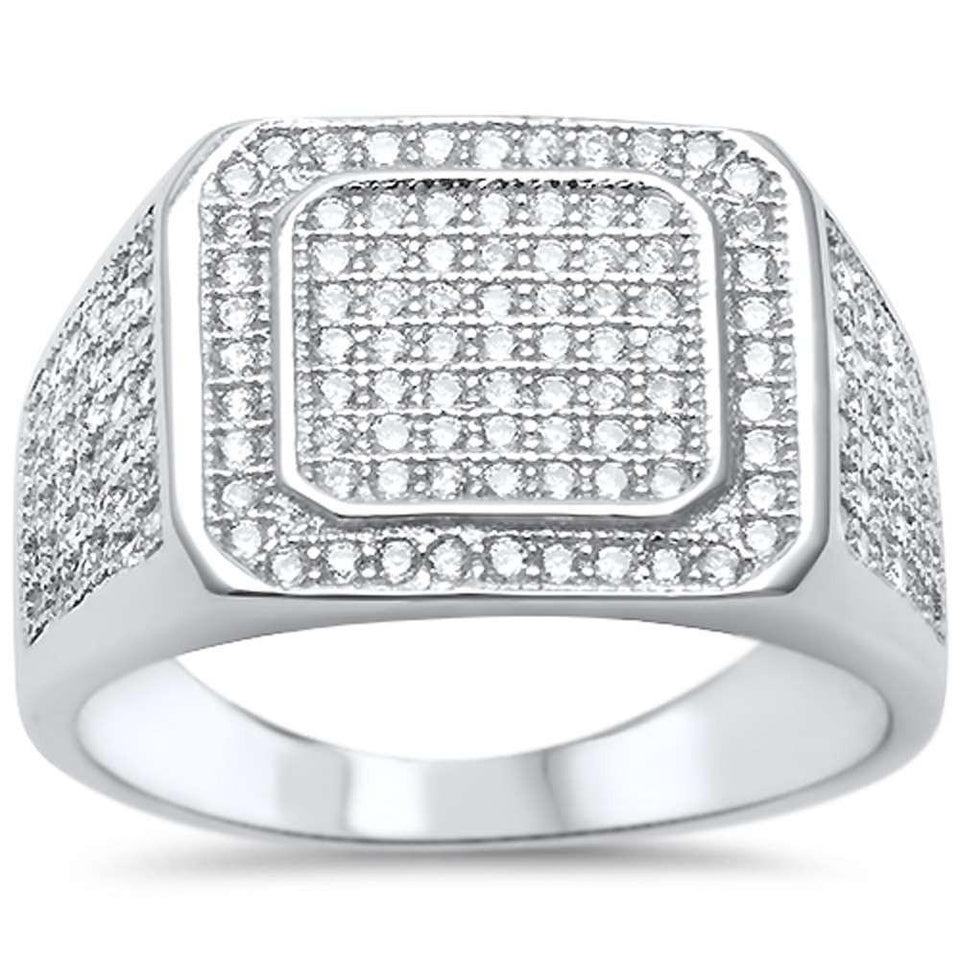 Mens Hip Hop MicroPave CZ .925 Sterling Silver Ring Sizes 8-12