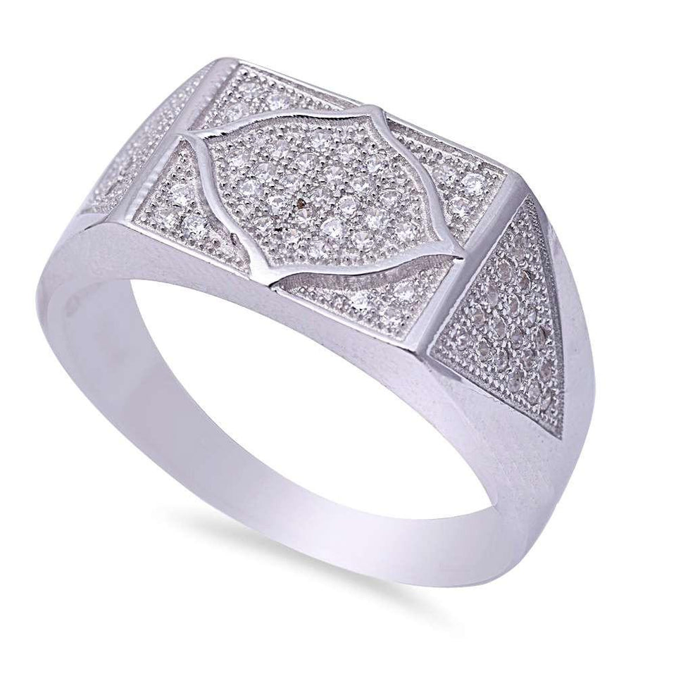 Men's Micro Pave Cubic Zirconia .925 Sterling Silver Ring Sizes 9-11