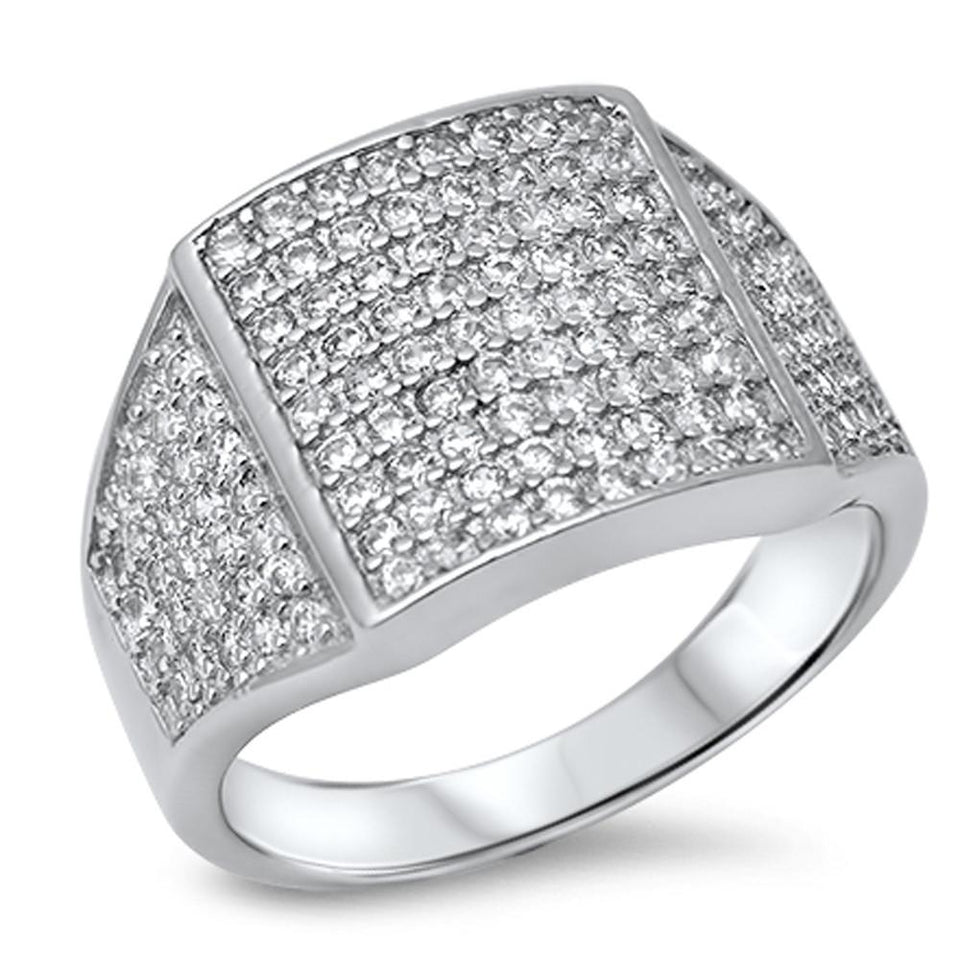 Men's Micro Pave Cubic Zirconia .925 Sterling Silver Ring sizes 8-13