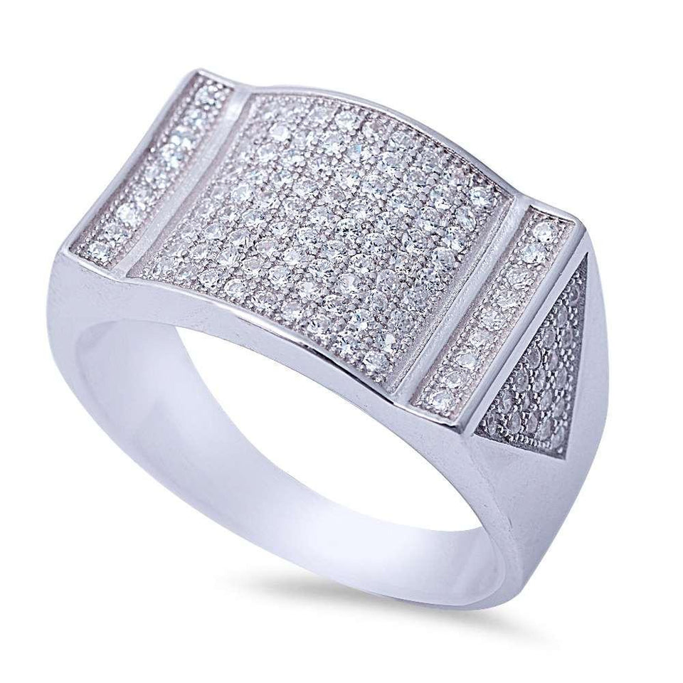 Men's Micro Pave Cubic Zirconia .925 Sterling Silver Ring Sizes 8-12