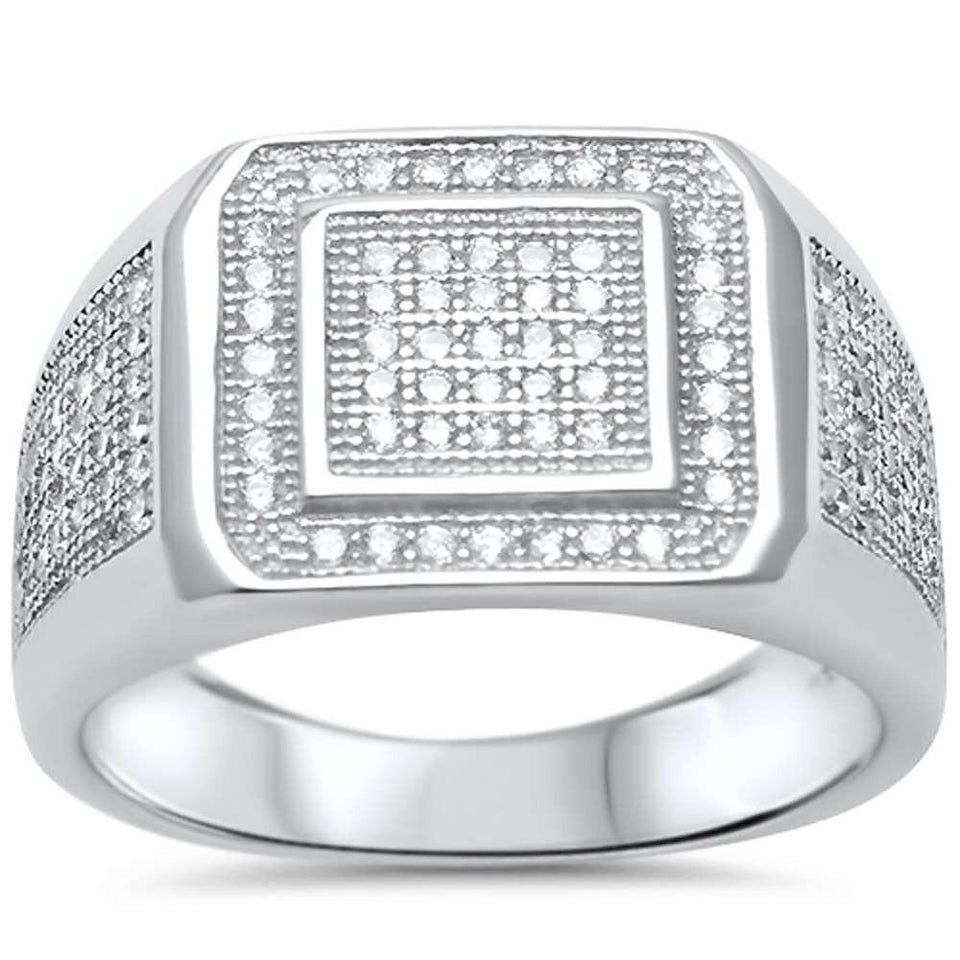 Mens Micro Pave Cubic Zirconia .925 Sterling Silver Ring Sizes 8-11
