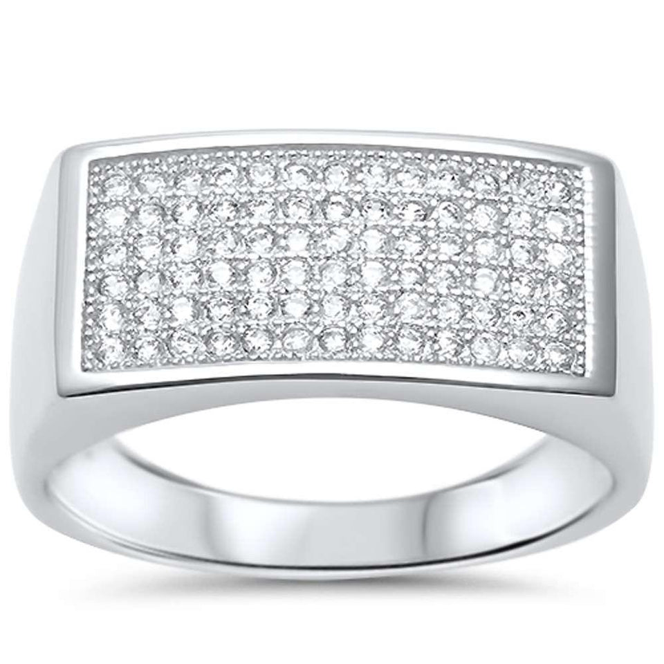 Mens Cz .925 Sterling Silver Ring Sizes 8-11
