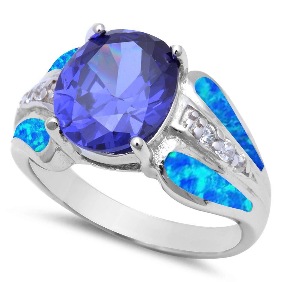 Oval Tanzanite Blue Opal & Cubic Zirconia  .925 Sterling Silver Ring Sizes 5-9