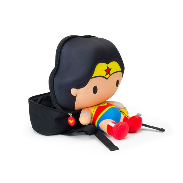 Licensed Justice League Wonder Woman 3D backpack with plushie