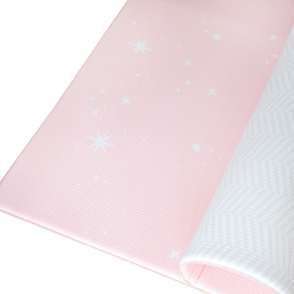 Bambam Kids Dreamy Blush / Herringbone Gray : Reversible Family Size Play Mat