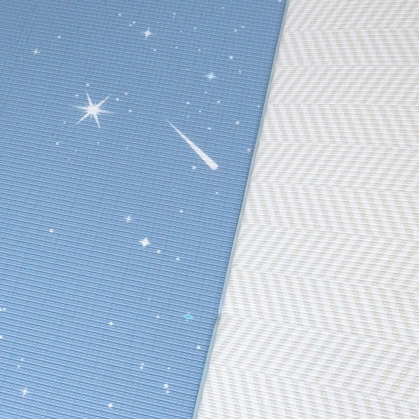 Bambam Kids Twilight Blue / Herringbone Gray : Reversible Family Size Play Mat