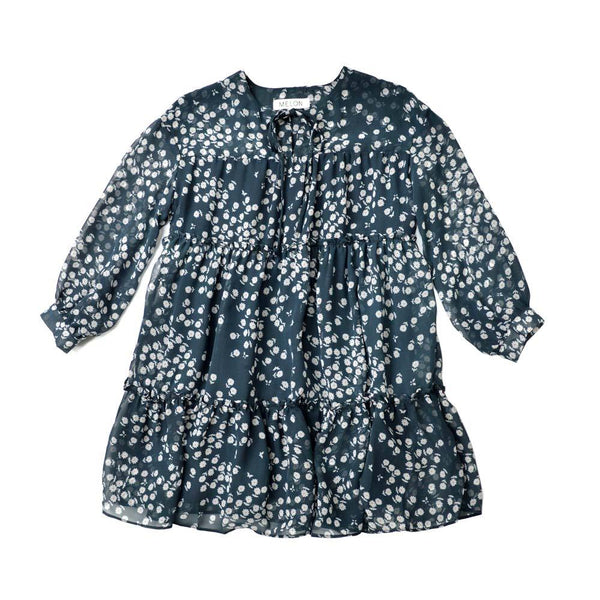 Chiffon Dress, Navy with floral prints
