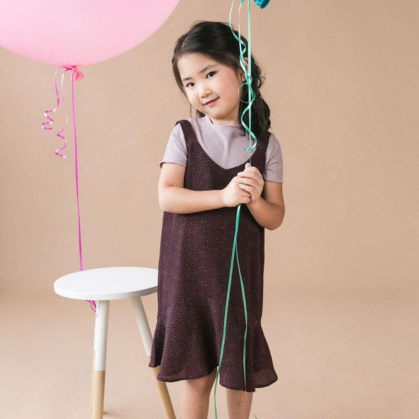*Size 100 & 120 only* Sleeveless Cotton Dress, Plum