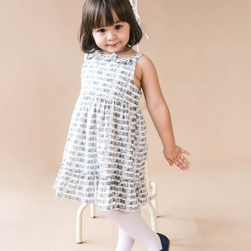 Ruffles Cotton Dress, Daisy with prints in Navy