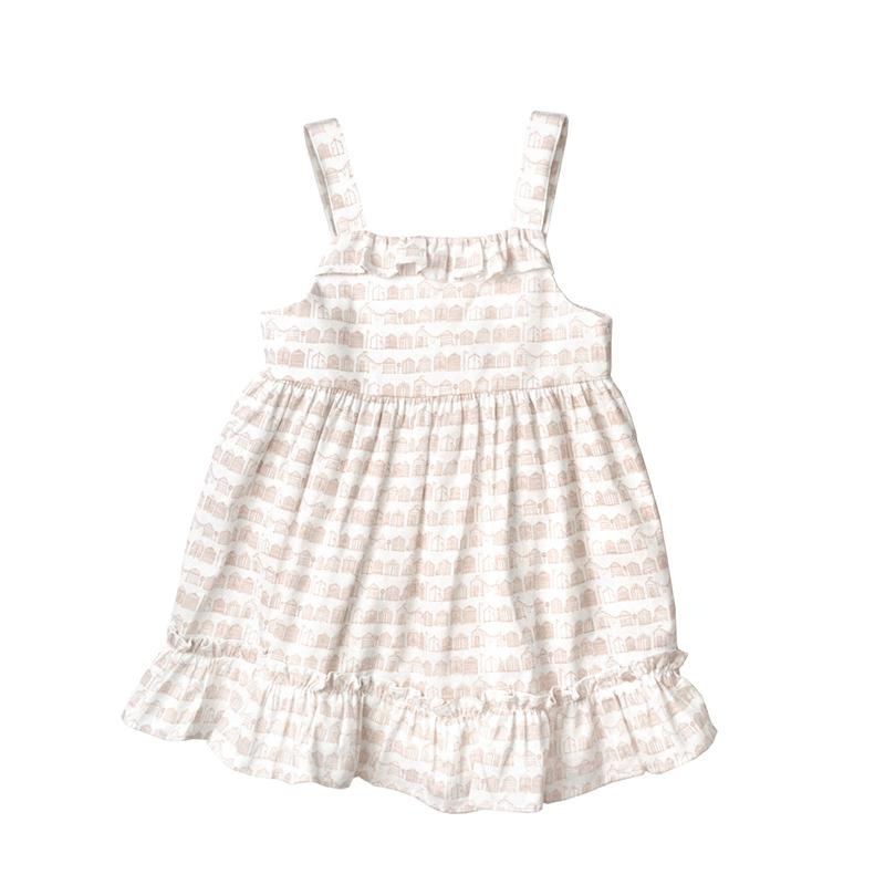 *Must-have* Ruffles Cotton Dress, Daisy with prints in Crepe
