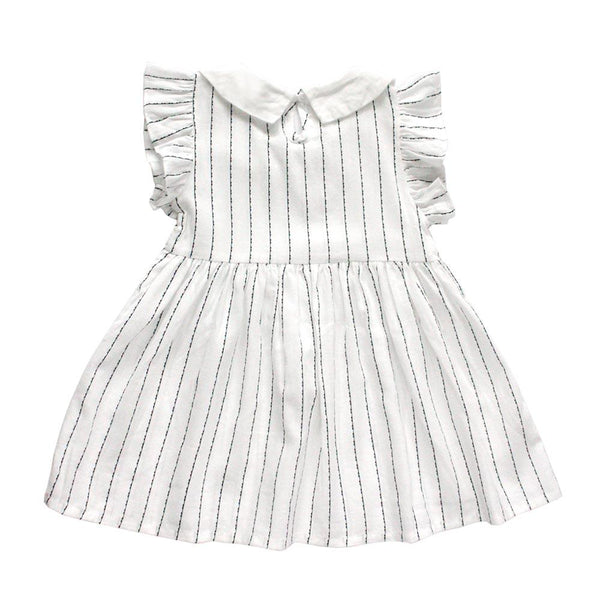*Last Piece* Flutter Sleeve Cotton Dress, Daisy with stripes