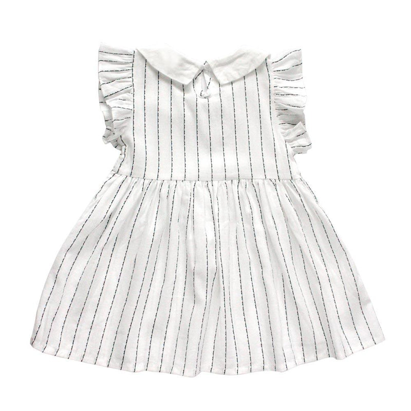 Flutter Sleeve Cotton Dress, Daisy with stripes