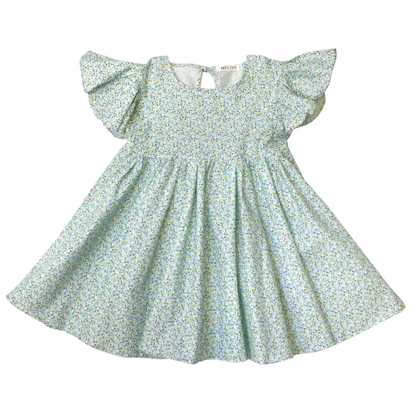 Empire Dress, Mint Green with sprinkles print