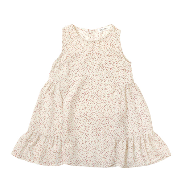 Chiffon Tent Dress, Porcelain White with mini heart prints