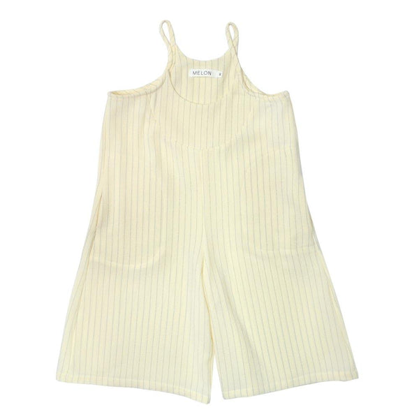 MELON Kids Girl Baggy Playsuit, Cream with stripes