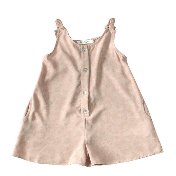 Lightweight Playsuit, Oat with faint leopard pattern