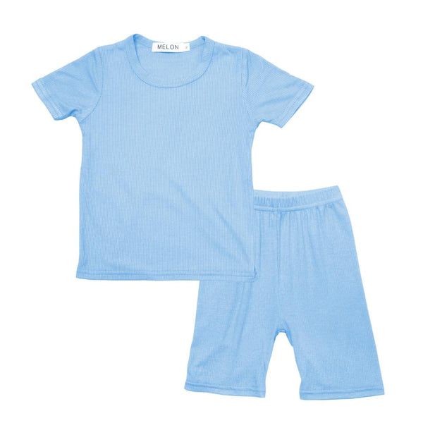 MELON Kids Boy and Girl Cotton Ribbed Loungewear Set, Sky Blue