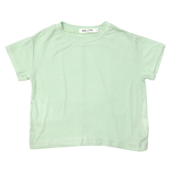 MELON Kids Boy and Girl Soft Cotton Basic Tee, Mint Green