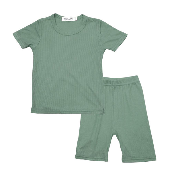 MELON Kids Boy and Girl Cotton Ribbed Loungewear Set, Olive Green
