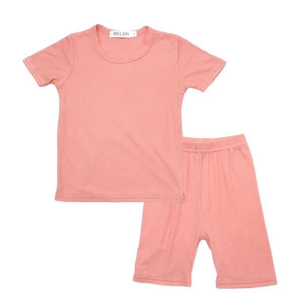 MELON Kids Boy and Girl Cotton Ribbed Loungewear Set, Coral Orange