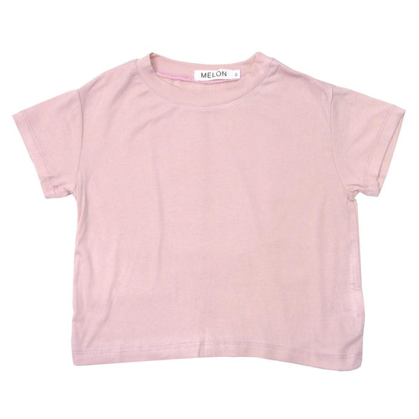 MELON Kids Boy and Girl Soft Cotton Basic Tee, Rose Pink