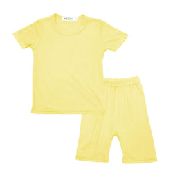 MELON Kids Boy and Girl Cotton Ribbed Loungewear Set, Pineapple Yellow