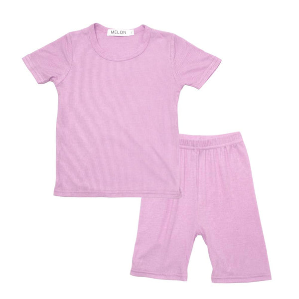 MELON Kids Boy and Girl Cotton Ribbed Loungewear Set, Lilac Purple