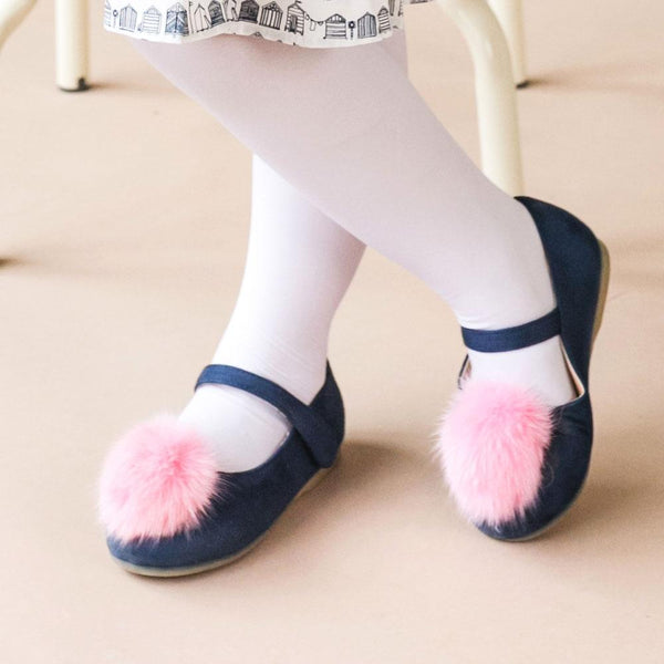 Kids Mary Jane Shoes, Navy blue with Pink Pom
