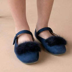 MELON Kids Girl Faux Fur Mary Jane Shoes, Navy blue
