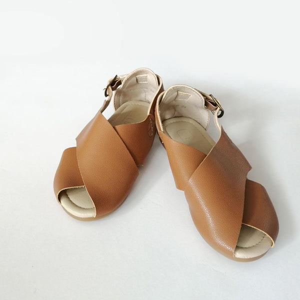 Cross Sandals, Tawny