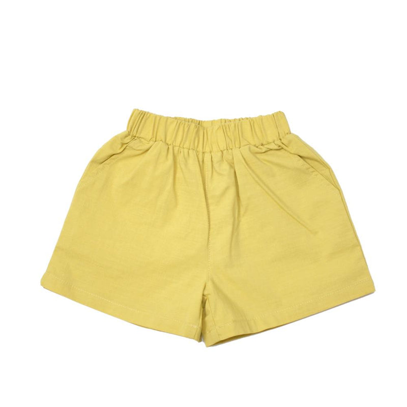 MELON Kids Boy and Girl Boxy Cotton Shorts, Dandelion Yellow