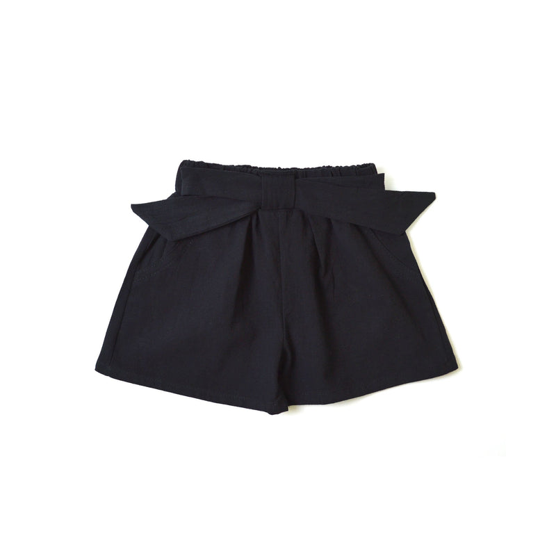 MELON Kids Girl Bow Shorts, Ebony black