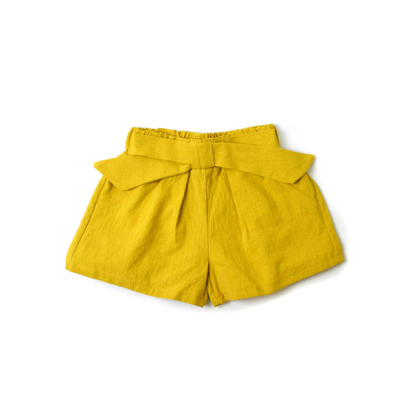 MELON Kids Girl Bow Shorts, Bumblebee yellow