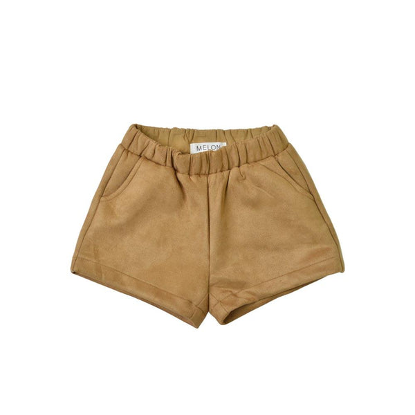 MELON Kids Girl Cotton Velvet Shorts, Sand