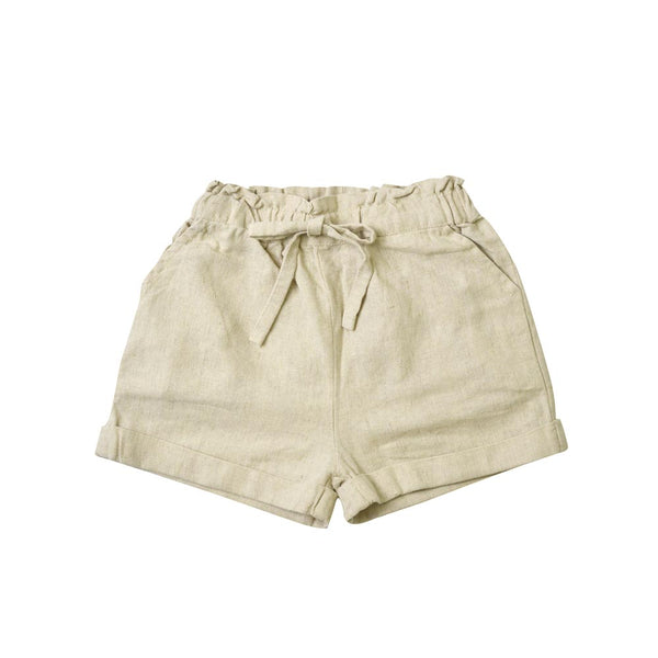 MELON Kids Cotton Linen Shorts, Bone brown