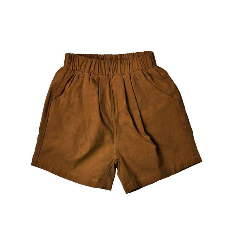 MELON Kids Cotton Linen Bermudas, Coffee Brown