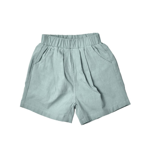 MELON Kids Boy/Girl Cotton Linen Bermudas, Teal Green